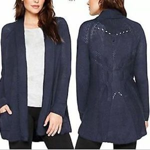 Matty M Navy Knit Open Front Cardigan Size XXL